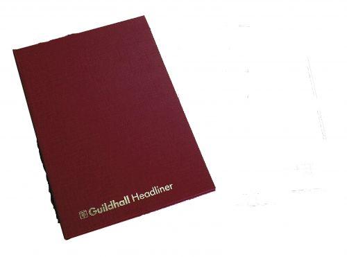 Guildhall Headliner Account Book Casebound 298x203mm 8 Cash Columns 80 Pages Red 38/8Z