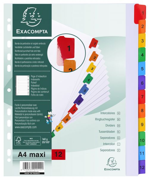 Exacompta Index 1-12 A4 Extra Wide 160gsm Card White with Coloured Plastic Tabs