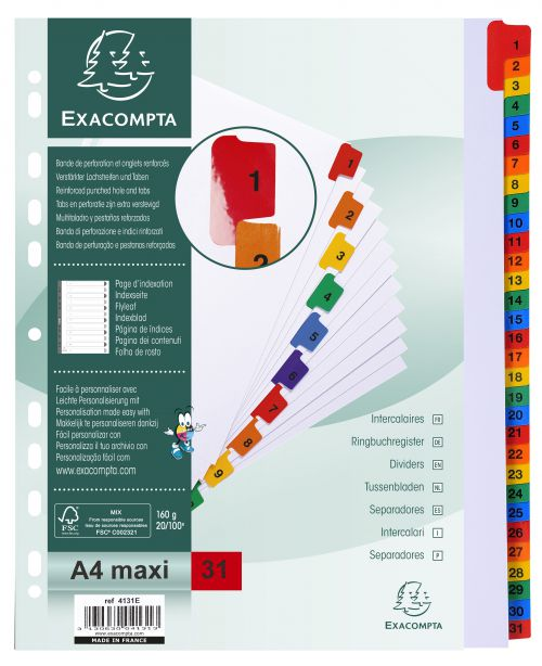 Exacompta Index 1-31 A4 Extra Wide 160gsm Card White with Coloured Mylar Tabs