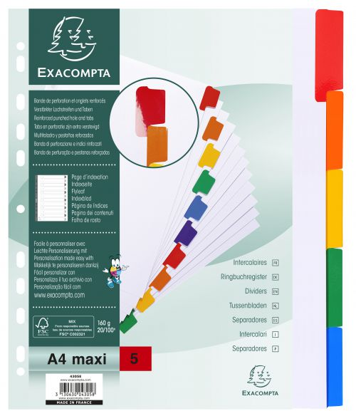 Exacompta Divider Coloured Plastic Tabs 5-Part A4 Maxi White 4305E