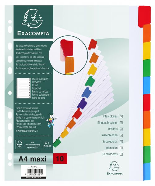 Exacompta Dividers A4 160g 10 Part Plain White with Col Tabs