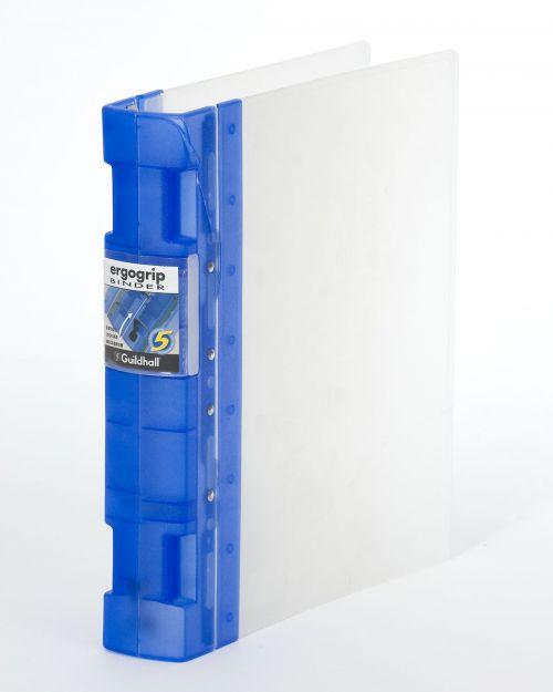 Guildhall GLX Ergogrip Binder Capacity 400 Sheets 4x 2 Prong 55mm A4 Frost Cobalt Blue Ref 4542 [Pack 2]