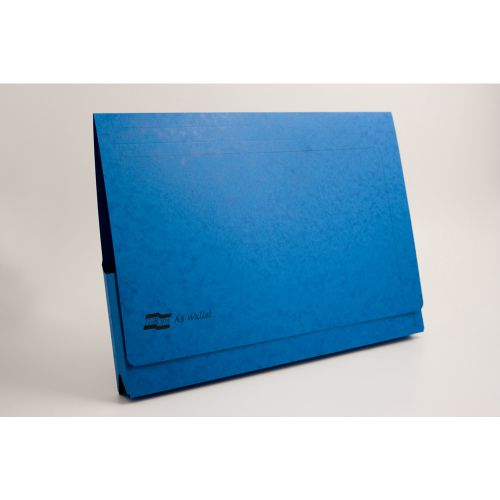 Europa Document Wallet Manilla A3 Full Flap 265gsm Blue (Pack 25)