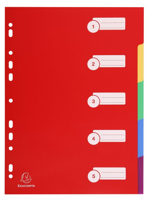 Exacompta Polypropylene 5 Part Dividers A4 Assorted 4905E