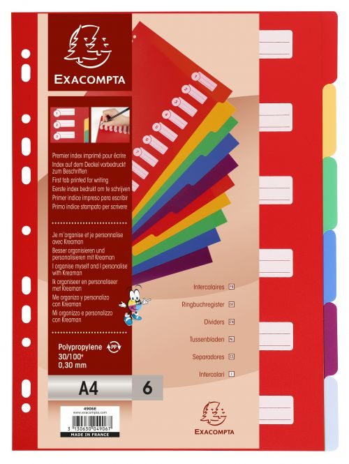 Exacompta Polypropylene 6 Part Dividers A4 Assorted 4906E