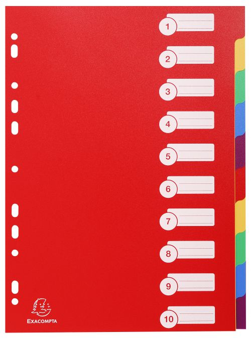 Exacompta Polypropylene 10 Part Dividers A4 Assorted 4910E