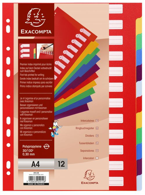 Exacompta Polypropylene 12 Part Dividers A4 Assorted 4912E