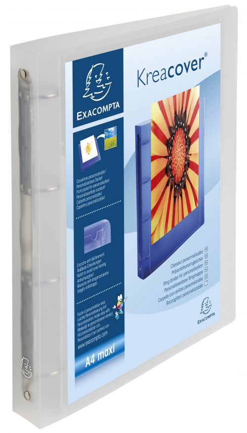 Exacompta Kreacover Ring Binder Polypropylene 4 O-Ring A4 Maxi 30mm Rings Frosted (Pack 12)