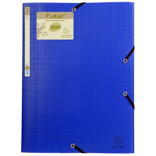 Exacompta Forever Elasticated 3 Flap Folder Blue (Pack of 15) 551572E