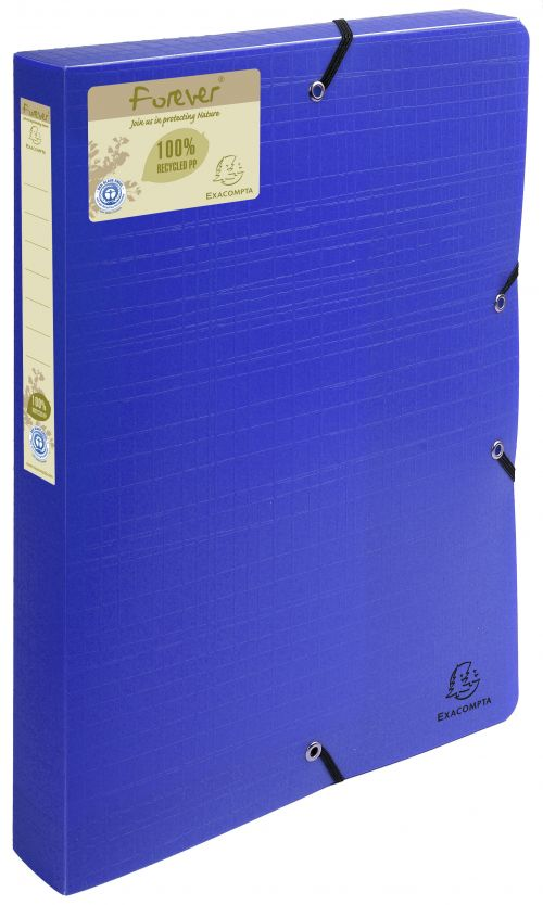 Forever Box File Elastic Closure A4 40mm PP Blue PK8