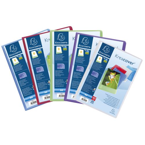 Exacompta Kreacover Display Book 20 Pocket A4 Assorted (Pack of 20) 5729E