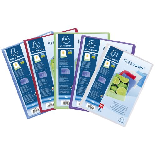 Exacompta Kreacover Display Book 30 Pocket A4 Assorted (Pack of 12) 5739E