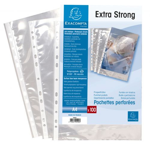 Exacompta Punch Pockets Polypropylene A4 90 Micron Clear (Pack 100)