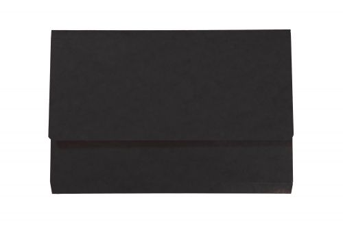 Exacompta Iderama Document Wallet Manilla Foolscap Half Flap 265gsm Black (Pack 10)