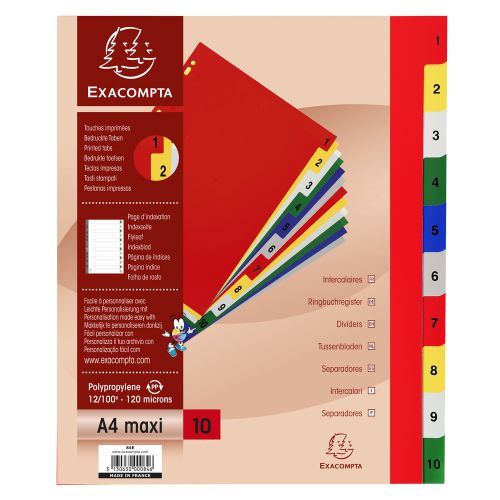 Exacompta Index 1-10 A4 Extra Wide 120 Micron Polypropylene Bright Assorted Colours
