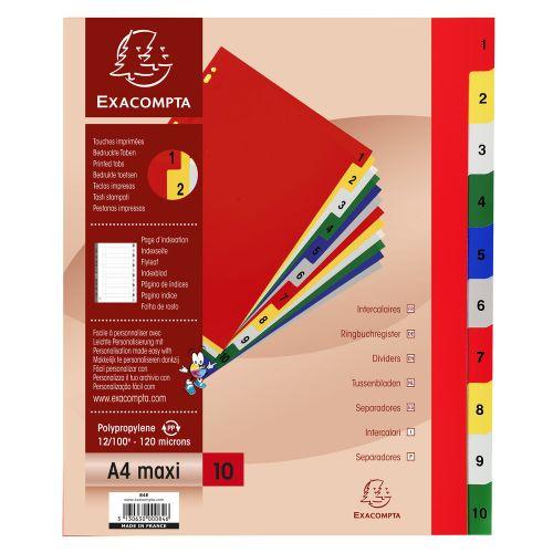 Exacompta 10 Part Printed Polypropylene Index A4 Extra Wide