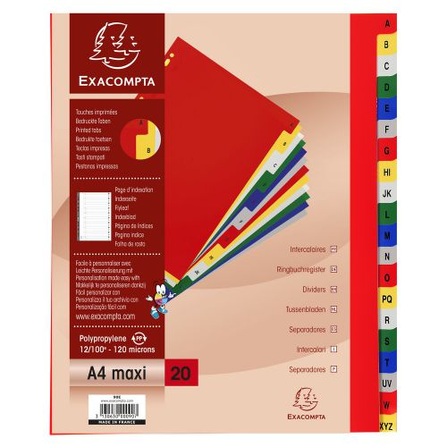 Exacompta 20 Part Printed PP Index A4 Extra Wide
