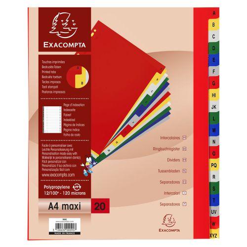 Exacompta 20 Part Printed Polypropylene Index A4 Extra Wide