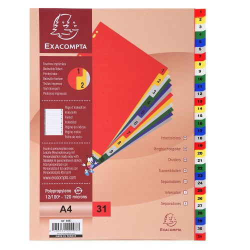 Exacompta Index 1-31 A4 120 Micron Polypropylene Bright Assorted Colours