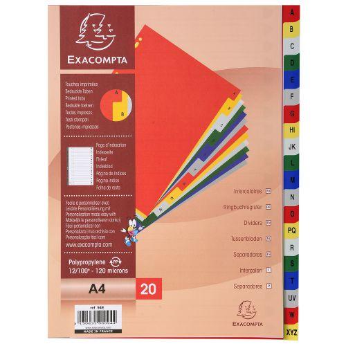 Exacompta 20 Part Printed Polypropylene Index