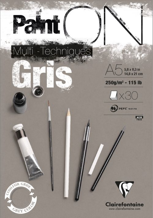 PaintOn Pad A5 30sh 250gsm Grey (Pack 4) 975808C