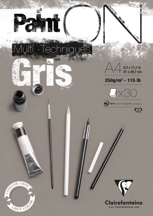 PaintOn Pad A4 30sh 250gsm Grey (Pack 4) 975809C