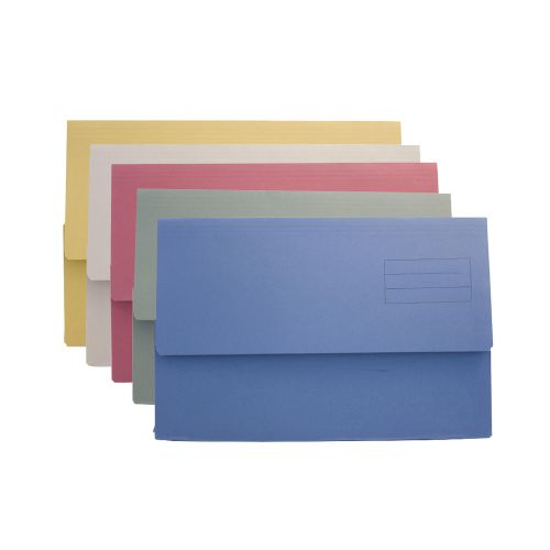 ValueX Document Wallet Manilla Foolscap Half Flap 250gsm Assorted (Pack 50)