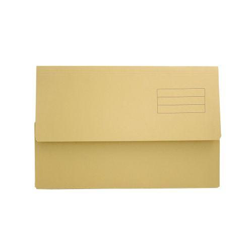Exacompta Document Wallet Manilla Foolscap Half Flap 250gsm Yellow (Pack 50)