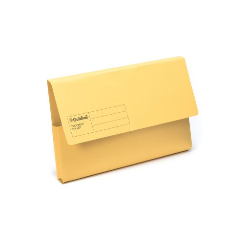 Exacompta Guildhall Document Wallet Foolscap Yellow (Pack of 50) GDW1-YLW