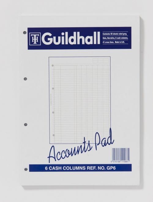 Exacompta Guildhall 6-Column Cash Account Pad A4 GP6 GHGP6