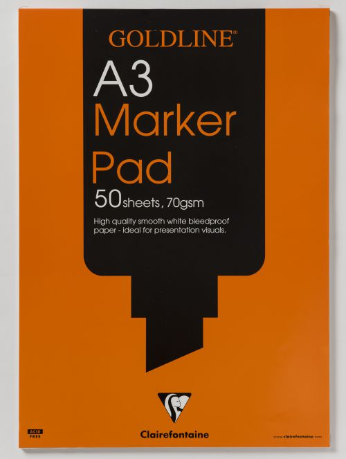 Goldline Bleedproof Marker Pad 70gsm Acid-free Paper 50 Sheets A3 White Ref GPB1A3Z [Pack 5]