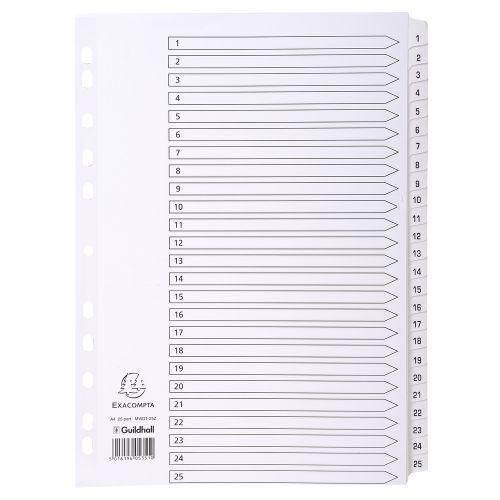 Exacompta A4 Index 160gsm 1-25 White