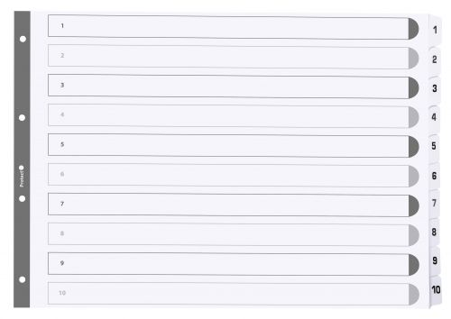 Exacompta Index 1-10 A3 160gsm Card White with White Mylar Tabs