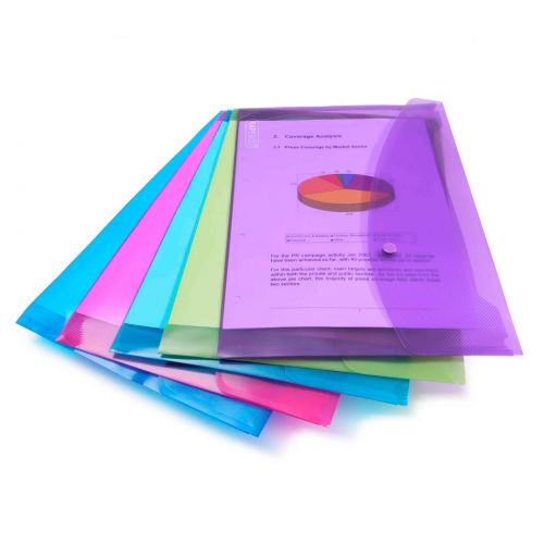 Rapesco Bright Popper Wallet Polypropylene A5 Assorted Colours (Pack 5)