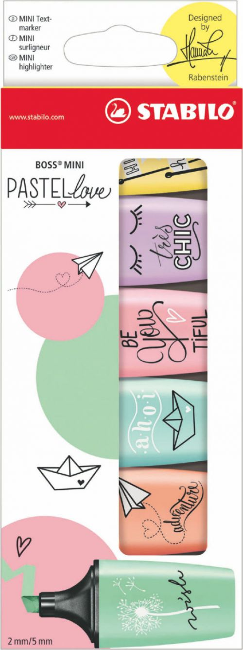 Stabilo BOSS MINI Pastellove Highlighters Assorted (Pack 6)