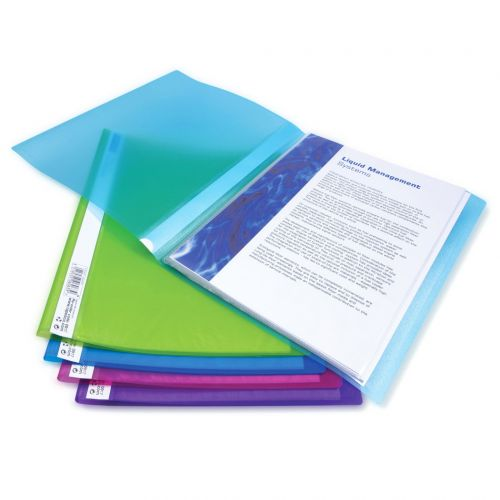 Rapesco A4 Flexi Display Book 20 Pocket Assorted Colours (Pack 10)