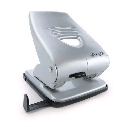 Rapesco 835 2-Hole Metal Punch 40 Sheet Silver