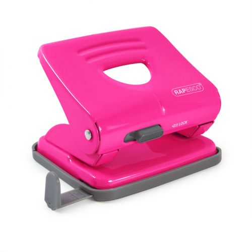 Rapesco 825 2-Hole Metal Punch (25 Sheets) Hot Pink
