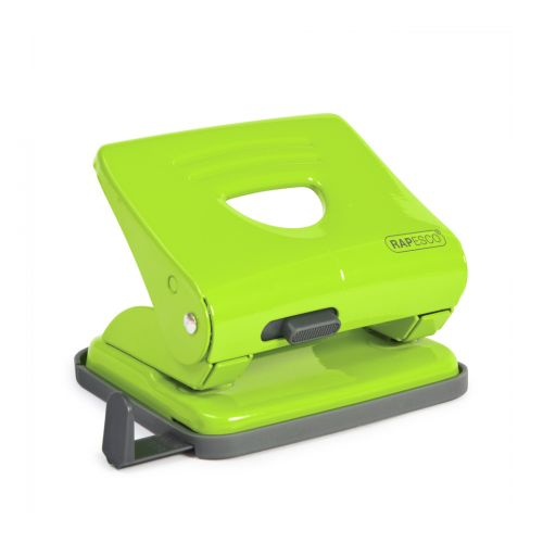 Rapesco 825 2-Hole Metal Punch (25 Sheets) Green