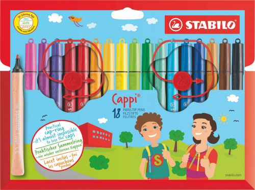 Stabilo Cappi Felt Tip Pen with Cap Ring Assorted Colours (Pack 24)