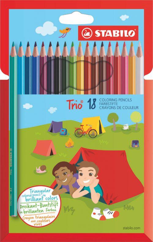 Stabilo Trio Thin Colouring Pencils PK18