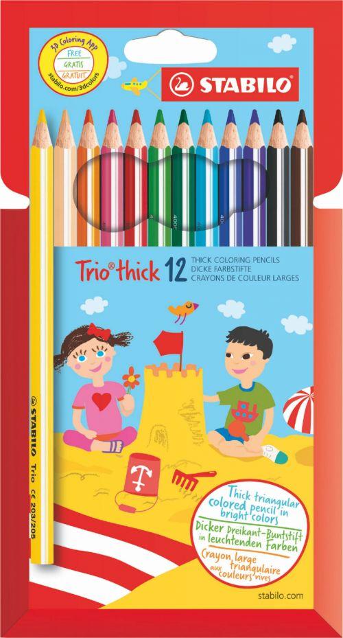 Stabilo Trio Thick Colouring Pencils PK12