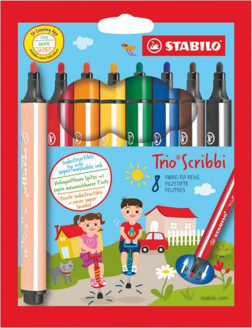 Stabilo Scribbi Chunky Felt Tip Pen 1.5-2mm Line Assorted Colours (Pack 8)