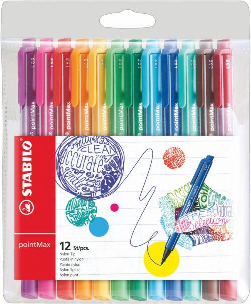 Stabilo PointMax Fibre Tip Pen 0.8mm Line Assorted Colours (Pack 12)