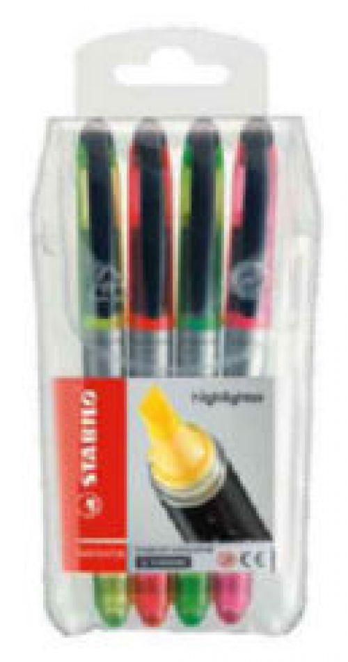 Stabilo Navigator Highlighter Soft-grip Slimline Assorted PK4