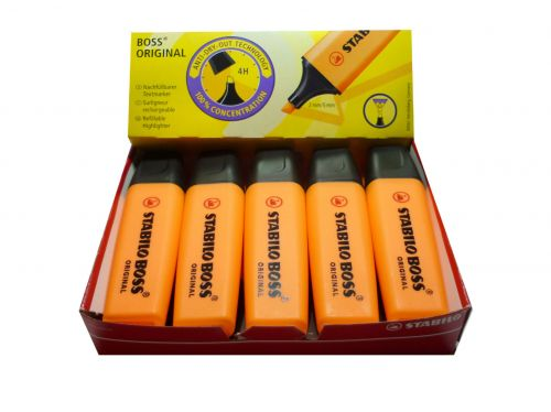 Stabilo Boss Highlighters Chisel Tip 2-5mm Line Orange PK10