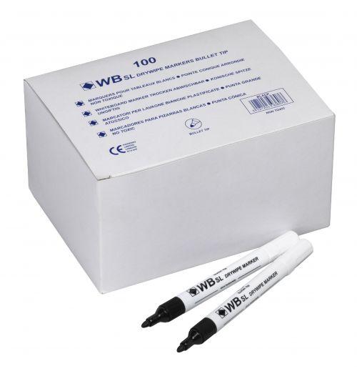 Value Drywipe Marker Bullet Tip Black Pk100