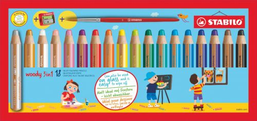 Stabilo Woody 3 in 1 Colouring Pencil Paint Brush and Sharpener Set Assorted Colours (Pack 18)