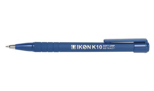 ValueX Retractable Ballpoint Pen Soft Grip 1.0mm Tip 0.7mm Line Blue (Pack 12)