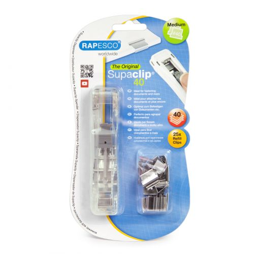 Rapesco Supaclip 40 Dispenser & 25 Stainless Steel Clips